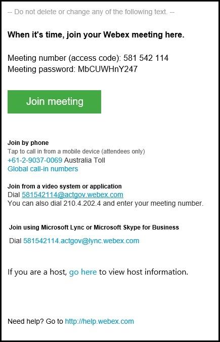 WebEx meeting information screenshot