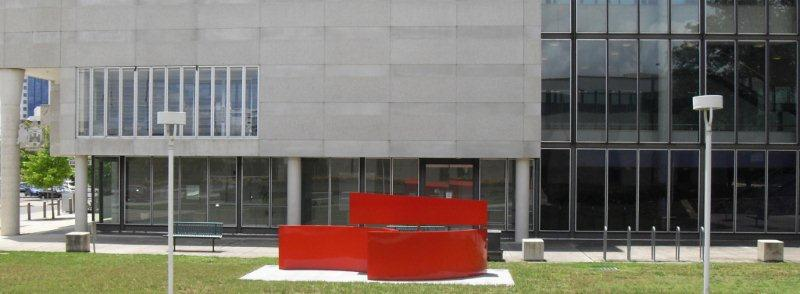 ACT Magistrates Court with sculpture Gravity Circle by Haruyuki Uchida in foreground